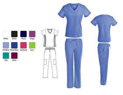 Nursing Solid Scrub Set Top with Stretch Panels and Cargo Pants XS S M L XL 2XL