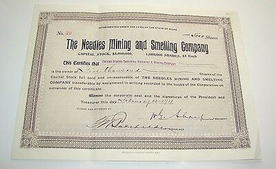 1911 The Needles Mining And Milling Smelting Company Maine Stock Certificate