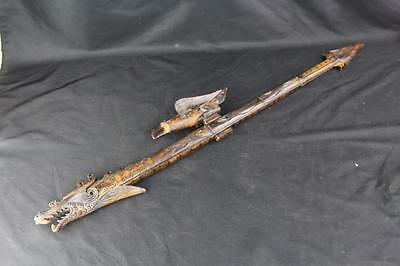 Beautiful Vintage Hand Made Carved Wood Dart Gun Blowgun with Dragon & Eagle