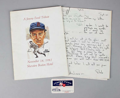 1983 Signed Jimmy Fund Tribute To Joe Cronin 13 HOF Ted Williams, Mantle DiMa...