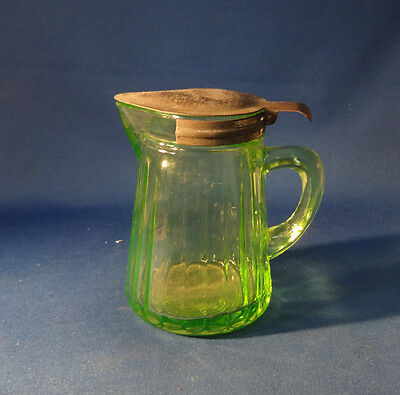 Green Vintage Hocking Ribbed Syrup with Metal Lid 4 1/4""