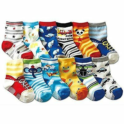 12 Pairs Anti-slip Baby Kids Toddler Socks Non-Skid Walkers Unisex Random Color