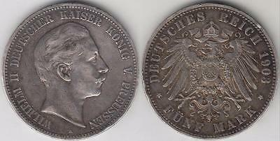 1903-A Prussia 5 Marks Silver Coin Vf