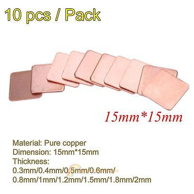 10PCS 15mmx15mm & 20mm×20mm Copper Heatsink Thermal Pad Shim For Laptop GPU CPU