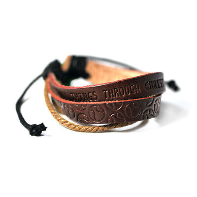 Bracelet-Baseball-I Can Do All Things-Leather