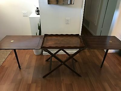 baker mahogany party butler table double fold out top tray brass