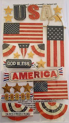 JOLEE'S BOUTIQUE LE GRANDE GOD BLESS AMERICA USA Patriot Scrapbook Craft Sticker