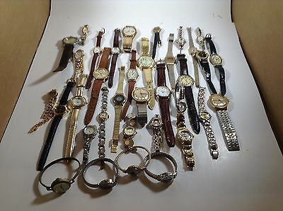 Lot of 35 Vintage Womens and Mens Watches, Medana, Timex, Moulin, Triumph
