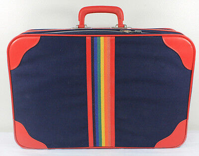 Vintage Rainbow Suitcase 20 inch Never Used Lock and Keys Peter's Bag Corp