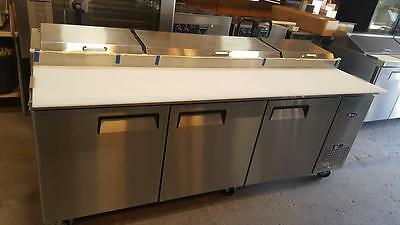 """Atosa Usa Mpf8203 Stainless Steel Pizza Prep Table 93"""" 3-Door Refrigerator"""