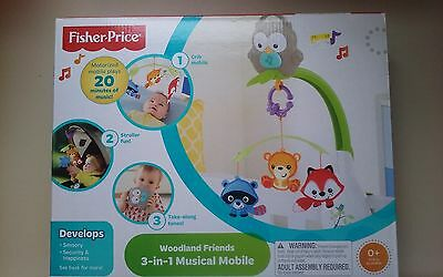 New - Fisher Price - Woodland Friends - 3 in 1 Musical Mobile - NIP