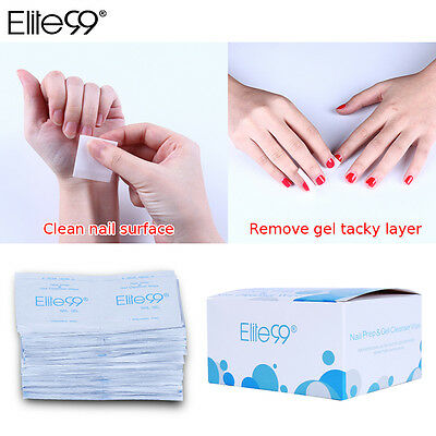 Elite99 Nail Prep UV Gel Sticky Residue Remover Cleanser Pad Shine Wipes Wraps