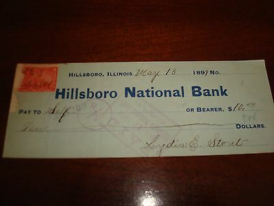 Us Stamps Checks 5/13/1899 Hillsboro National Bank Ill
