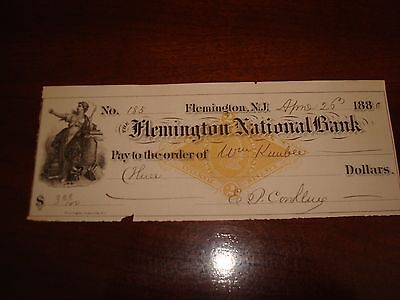 Us Stamps Checks 4/26/1880 Flemington National Bank Nj
