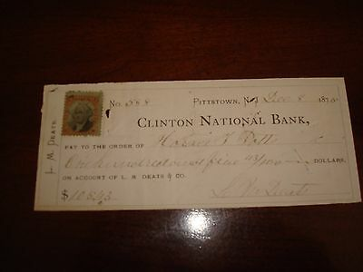 Us Stamps Checks 12/08/1876 Clinton National Bank, Pittstown Nj