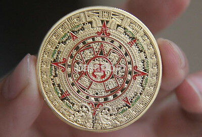 HOT Mayan Prophecy Calendar Coin Gold Plated Commemorative Collection Coin AU