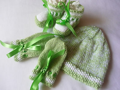 Baby Beanie, Booties & Mittens, Boy/girl, Extra Soft, Green With White Highlight
