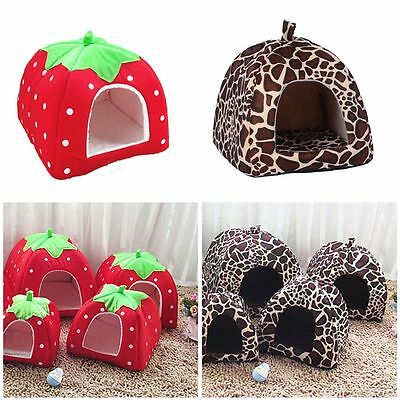 Foldable Leopard Print Pet House Kennel Dog Cat Bed Cave Tent