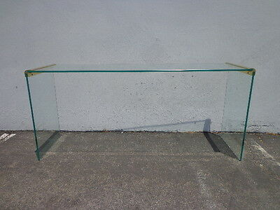Leon Rosen for Pace Waterfall Console Table Mid Century Modern Brass Glass Entry