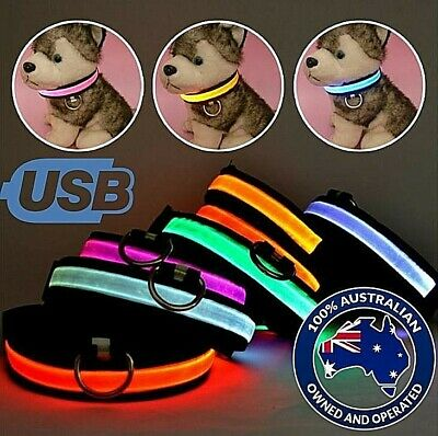 Led Dog Collar USB Rechargeable Light Safety Flashing Pet Waterproof up Nylon M