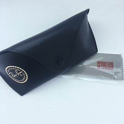 AUTHENTIC! Ray Ban Black Gold Leather Sunglass/Glasses Case LARGE BELT LOOP