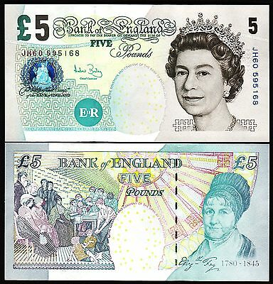 GREAT BRITAIN , ENGLAND  5 POUNDS 2002 (2004) UNC P-391C QEII Sign A BAILEY