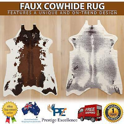 Faux Cow Hide Cowhide Brown Skin Floor Rug Mat Home Decor Premium Quality Fibers