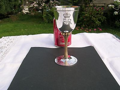 English Hallmarked Solid Silver & Gilt Goblet Commemorating Silver Jubilee 1977