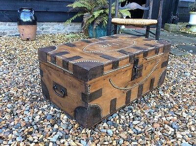 Old Victorian  Pine Steamer Trunk Silver Chest Bed Storage Coffee Table WI