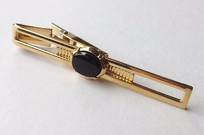 Vintage Stratton Tie Clip Gold Tone Open Face with Black Glass Inset  FREE PP
