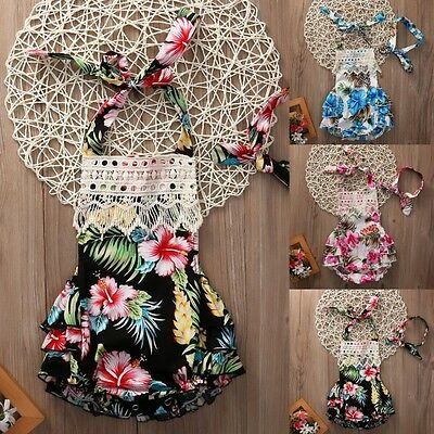 Floral Newborn Baby Girls Lace Ruffle Bodysuit Romper Jumpsuit Outfits Clothes
