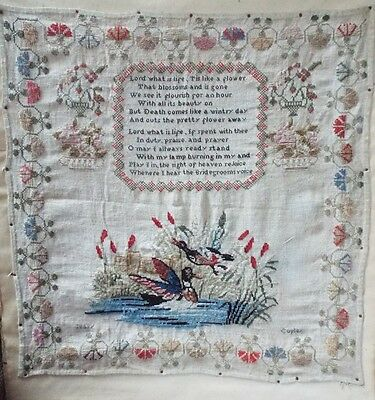 Vintage sampler with verse and decorated with birds and flowers by Mary Copley