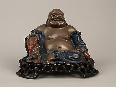 A Scarce Antique Chinese Fuzhou Foochow Lacquer Carved Maple Budai & Stand.