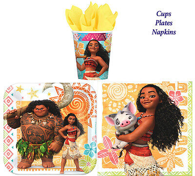 Disney Moana Birthday Party Pack of 32 pc ~ Plates,Cups & Napkins ~Table Ware