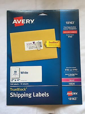 Avery Shipping Labels for Laser and Inkjet Printers, White, 2 x 4 Inches NEW
