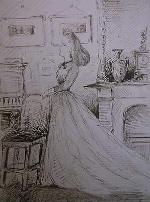 Ink Drawing 1900 A Study Of A Lady In The Sitting Room