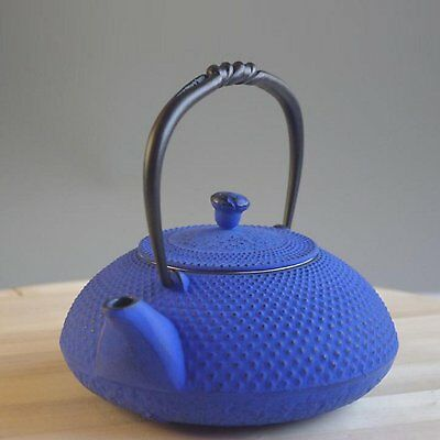 Japan Tetsubin Nanbutekki Iron Tea Pot Blue Traditional Japan Arare 0.5L F/S