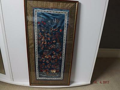 Vintage Chinese Silk Embroidery Panel Picture 100 CHILDREN in glass  68cm X 35cm