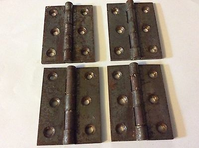 "iron (BUTT HINGES ) ideal for house doors  3 1/2"" long old  reclaimed X 2 pairs"
