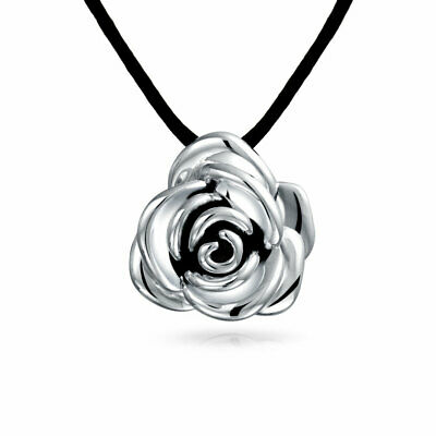Bling Jewelry Antique Style Rose Flower Pendant Necklace Black Silk Cord 16in
