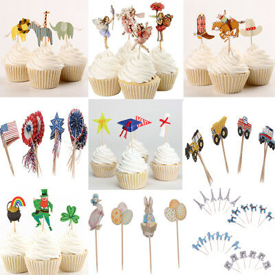 24pcs Assorted Style Cute Paper Cupcake Cake Topper Picks Party Cake Decor