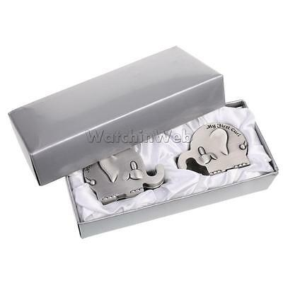 1 Pair Elephant My First Tooth and Curl Box Set Baby Shower Gift Favor