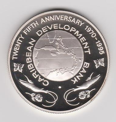 1995 Bahamas $10 Caribbean Bank Silver Proof Coin Rare Type Mintage: 1000
