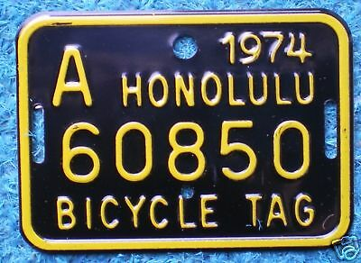 1964 1972 & 1974 Hawaii Bicycle License Plate Mint Set