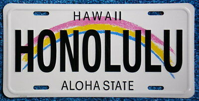 "Hawaiian ""HONOLULU"" Novelty License Plate from Hawai"