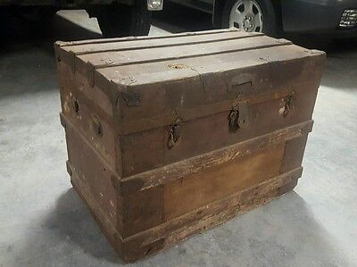 Large 1800's Antique Victorian Steamer Trunk Chest Original