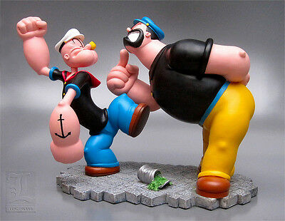 Extremely Rare! Popeye vs Brutus Fighting Polyresin Statue/Figurine Marked