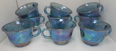 Lot Of 9 Beautiful Harvest Blue Iridescent Carnival Glass Punch Bowl Cups ~Ss2~