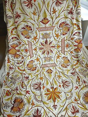 Antq embroidered crewel work bedspread throw hanging country house style