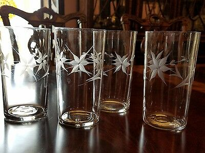 Set of 4 antique vintage glasses 5 pointed star flowers flat tumblers